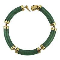 Chinese Jade Link Bracelet Five Green Curves