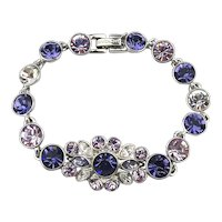 Givenchy Pink Purple Crystal Rhinestone Bracelet