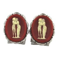Vintage Carved Stone Cameo Kissing Couple Cufflinks