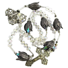Sterling Silver Flowers Aurora Borealis Crystal Prayer Beads Rosary