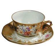 Vintage Pirkin Hammer Czech Cup & Saucer Gilded Flowers
