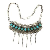 Navajo Sterling Silver Signed Turquoise Necklace Tobe Turpen