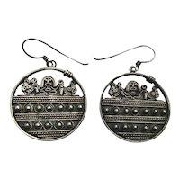 Aztec Mayan Sterling Silver Earrings Signed Mesoamerican Design