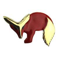 Modernist Sly Red Fox Enamel Pin Brooch
