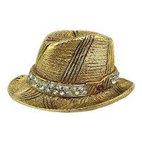BSK Vintage My Fair Lady Fedora Hat Pin Brooch