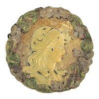 Antique Josef Strnact Terracotta Art Nouveau Beauty Wall Plaque Austria