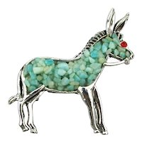 Vintage Chromed Donkey Pin Brooch Inlaid Stones