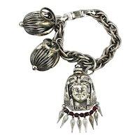 1950s NAPIER Cumquat Charm Bracelet w/ Head Perfume Bottle