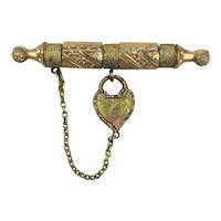 Antique Victorian Gilded Bar Pin w/ Heart Lock Charm