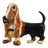 Enamel Basset Hound Dog Pin Brooch - So Sad