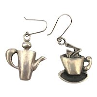 Mexican Sterling Silver Figural Coffee Pot and Tea Cup Earrings