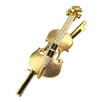 Figural Fiddle Pin Brooch Violin Cello String Instrument w/ Crystals