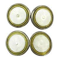 Antique Enamel Silvertone Cufflinks