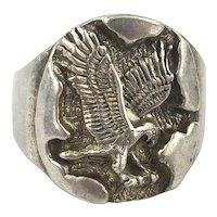 Big Carved Sterling Silver Flying EAGLE Ring