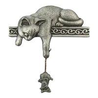JJ Jonette Jewelry Cat n Mouse Pin Brooch