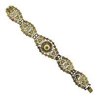 Early Czech Stamped Brass Filigree Bracelet