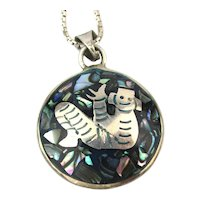 Taxco Taller Delgado 2-Sided Sterling Silver Inlaid Stone Pendant Necklace