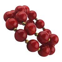 Vintage Cherry Red Bakelite Bead Wired Bracelet