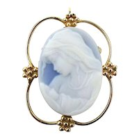 14K Gold Blue White Stone Carved Cameo Mother w/ Baby Pin Pendant