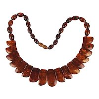 Vintage Amber Bead Necklace Translucent Resin