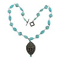 Vintage Turquoise Bead w/ Silvertone Holey Pendant Necklace