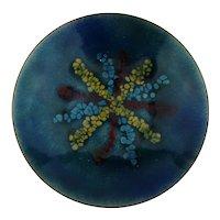 Mid-Century Enamel on Copper Modernist Dish Plate