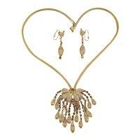 Gorgeous Gilty Necklace - Earrings Set Waterfall Rhinestones Acorns