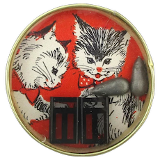 Vintage Cat n Mouse Pocket Puzzle Game w/ Mirror