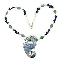 Vintage Lee Sands Gemstone Bead Necklace Inlaid Shell SEAHORSE