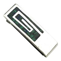 Vintage Taxco Sterling Silver Money Clip w/ Inlaid Stone