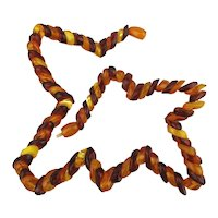 Genuine Amber Two-Tone Striped Bead Necklace Exceptional