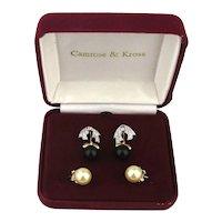 Jacqueline Kennedy CZ Faux Pearl Drop Interchangeable Earrings Camrose Kross Orig. Box