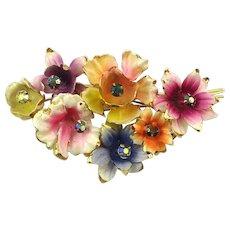 Big Bunch of Enameled Flowers Pin Brooch
