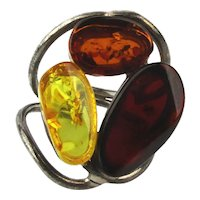 Big Sterling Silver Genuine AMBER Stone Ring - 3 Colors
