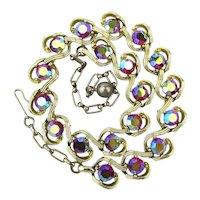 KRAMER Aurora Borealis Crystal Necklace Fiery Red