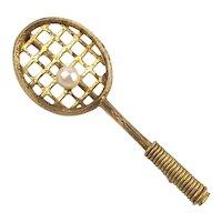 Winard Gold-Filled Tennis Racket Pin Brooch