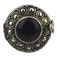Ornate Sterling Silver Pill Box Ring w/ Amethyst