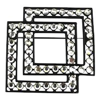 Modernist COROCRAFT Boxy Rhinestone Pin Brooch