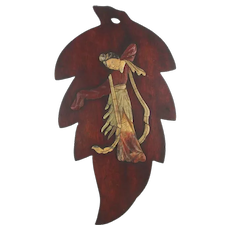 Asian Dancer Wall Plaque Jade - Red Coral on Wood