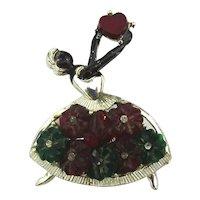 Dancing Lady With Heart Pin Brooch Art Deco Era