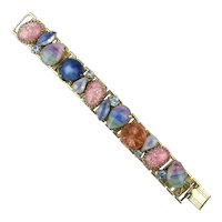 Unique Glass Stone Link Bracelet - Moonstone Speckled Fleckled n More
