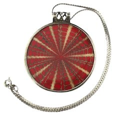 Silpada Sterling Silver Red Resin Lucite Pendant Necklace