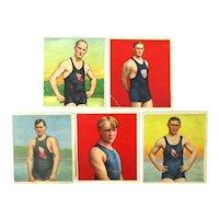 5 Original 1910 MECCA Cigarettes Athlete Trade Cards Swimmers