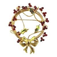 Vintage Wired n Bowed n Berried Christmas Wreath Pin