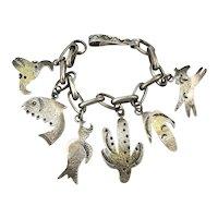 Signed PAR Heavy Sterling Silver Charm Bracelet Southwest