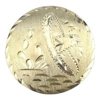 Old Round Etched Mexican Sterling Silver Pin Pendant