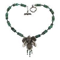 Vintage Sterling Silver Orchid Pendant Turquoise Bead Necklace