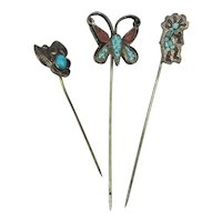 Vintage Native American Sterling Silver Turquoise Stick Pins