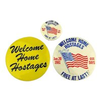 1981 Welcome Home Hostages - 3 Original Celluloid Pins