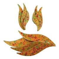Pin Earrings Set '60s Enamel in Autumn Colors